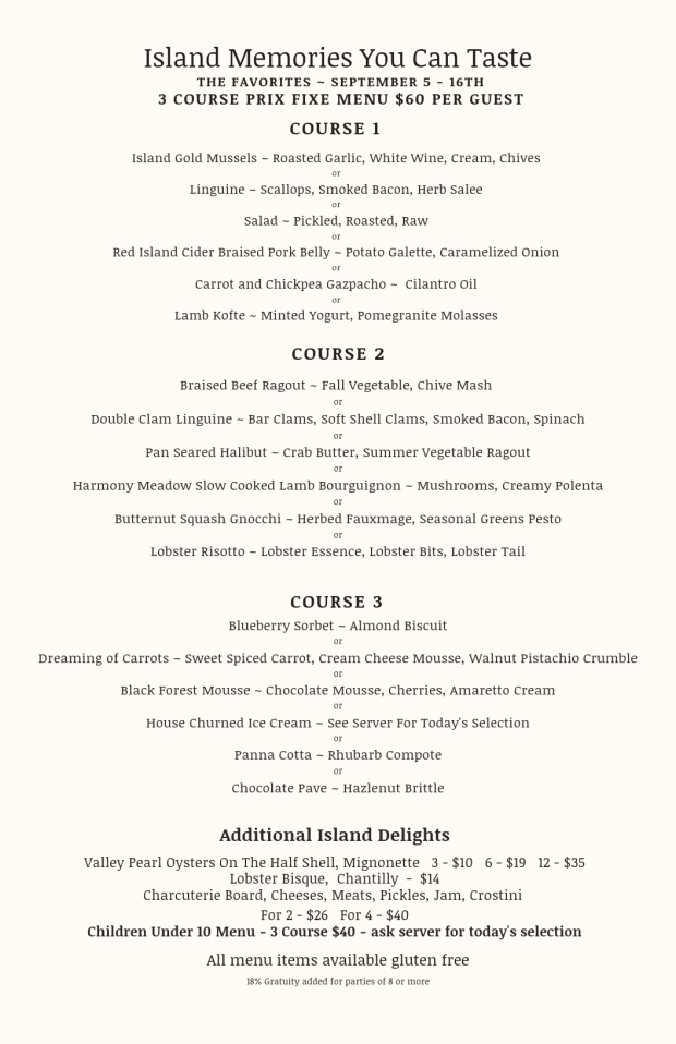 Outside menu September 5-16
